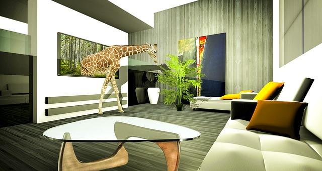 imagen de una jirafa saliendo de un televisor, este efecto puede conseguirse con el sistema de impresión de alto brillo en alta calidad